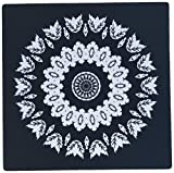 3dRose Black and White Floral Mandala On Black Backgrond Mouse Pad (mp_41998_1)