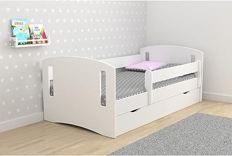 Classic 2 - Cama infantil con barrera y cajones de almacenamiento (80 x 180 cm, incluye somier y colchón), blanco