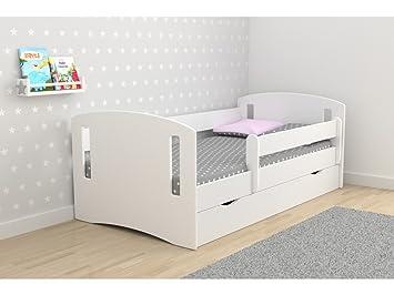 lit enfant 80x180 cm classic 2 avec barriere de securite sommier tiroirs matelas - Lit Enfant Fille