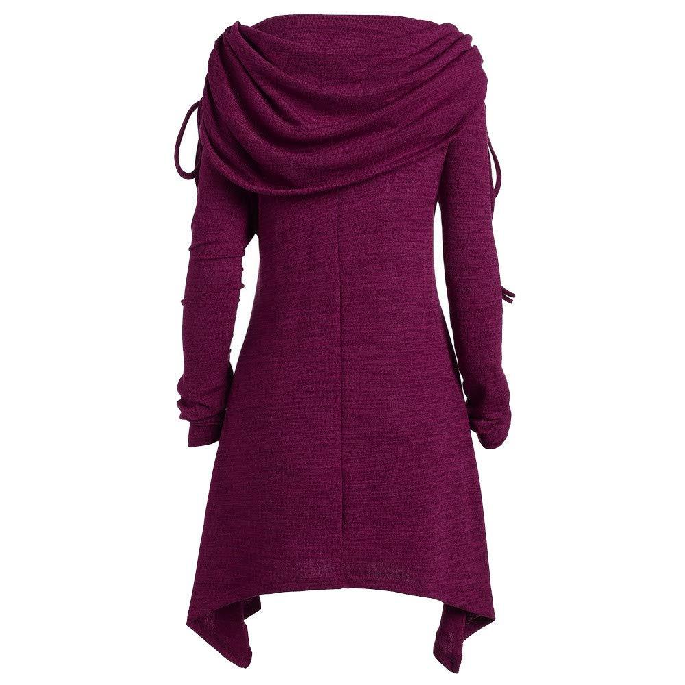 MEIbax Plus Größe Damen Einfarbig Geraffte Lange Foldover Kragen Tunika Pullover Asymmetrisch Sweatshirt