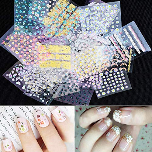 Nail Art Stickers By gLoaSublim,10 Sheets Fashion Flower Nail Art Sticker DIY Decal Mixed Style Manicure Decor - Random Pattern ()