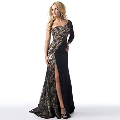 f1d21e7424 FAVOLOOK Women Ladies Formal Sexy Evening Long Prom Slit Dresses Off  Shoulder Lace Ball Gown Wedding