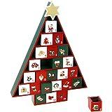 Decorazione natalizia - Calendario dell'avvento in legno a forma di albero di natale