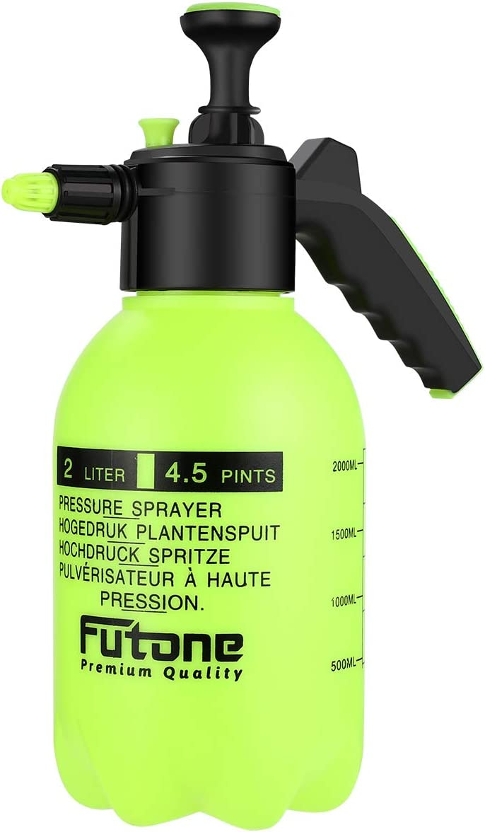 Futone 0.5 Gallon Hand Held Garden Sprayer Water Pump Pressure Sprayers for Lawn and Garden - (2.0L Lime Yellow)