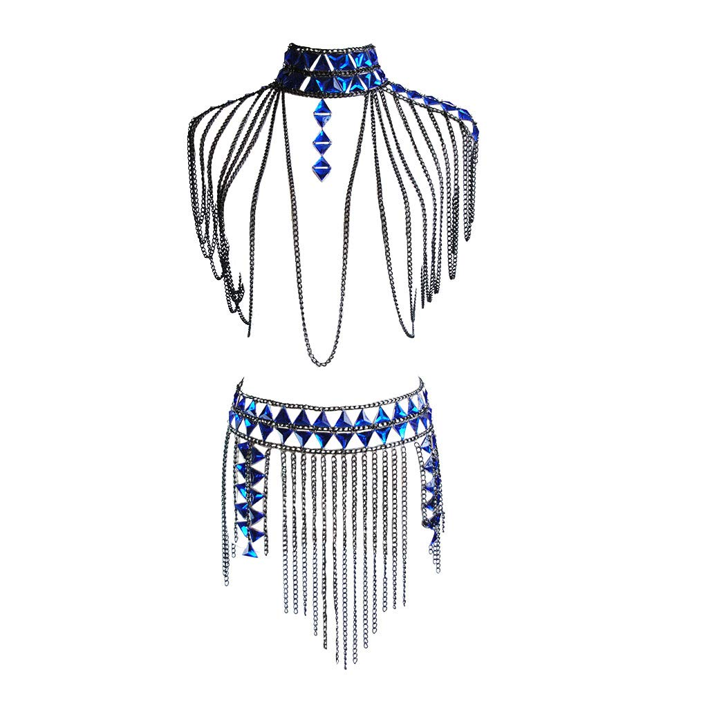 YiXin Sexy Woman Bra Body Chain Necklace Tassel Gem Waist Chain for Nightclub Party Beach Jewelry (Black) (Black)