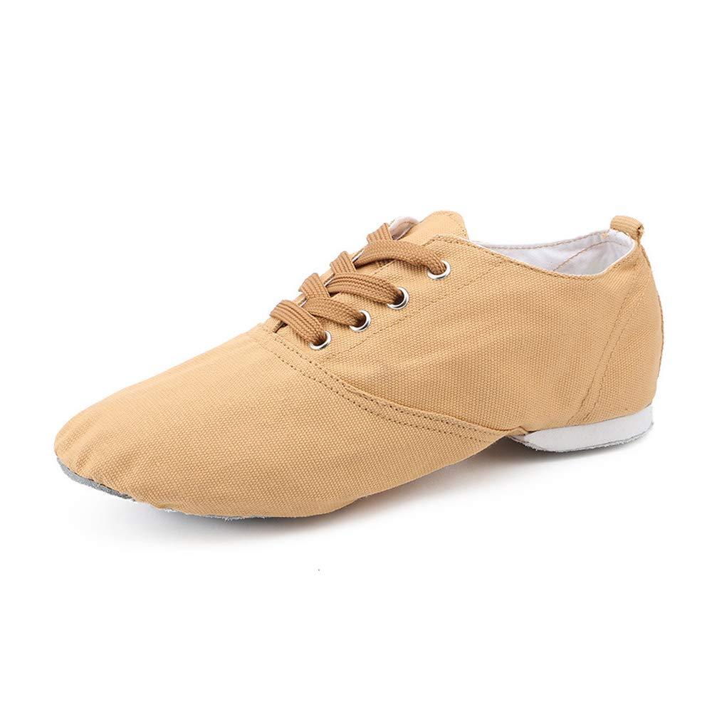 Chaussures à Lacets en Toile de Danse Jazz Marron Clair avec Semelles...