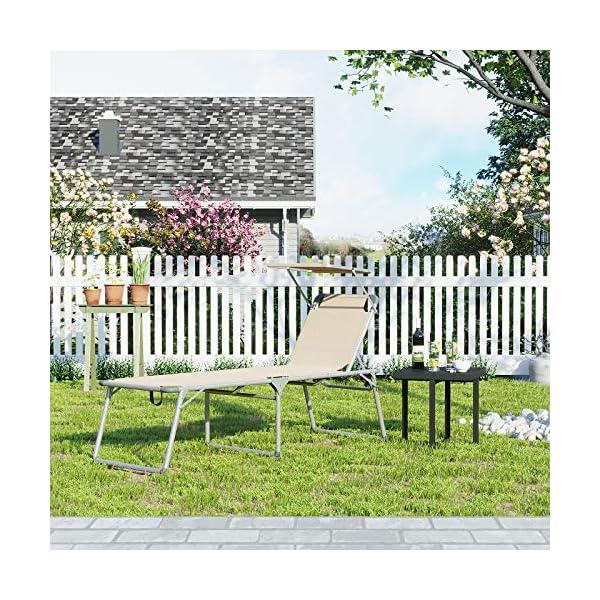 61HwuzkpUuL SONGMICS Sonnenliege, Liegestuhl, Gartenliege, extra groß, 65 x 200 x 48 cm, bis 150 kg belastbar, mit Sonnendach…