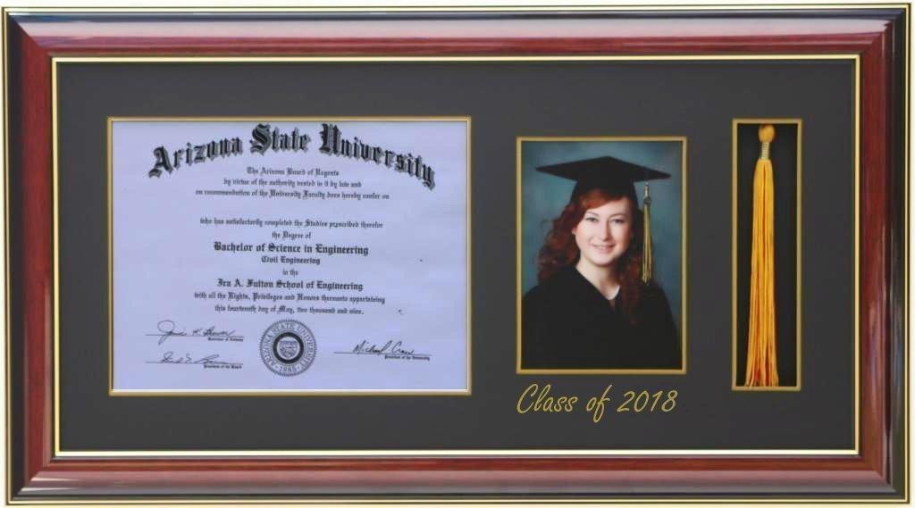 Amazon.com - H-Diploma 11x8.5 Tassel 5x7 Picture Frame 2018 Mahogany ...