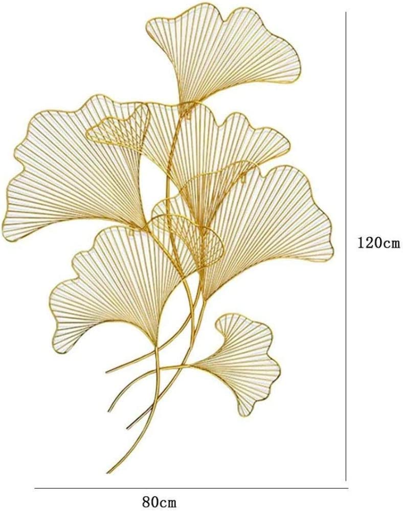 HXPBJ Wall Decor Art Hand Forged Metal Ginkgo Leaf Wall Hanging For Home Living Room Creative Three Dimensional Pendant