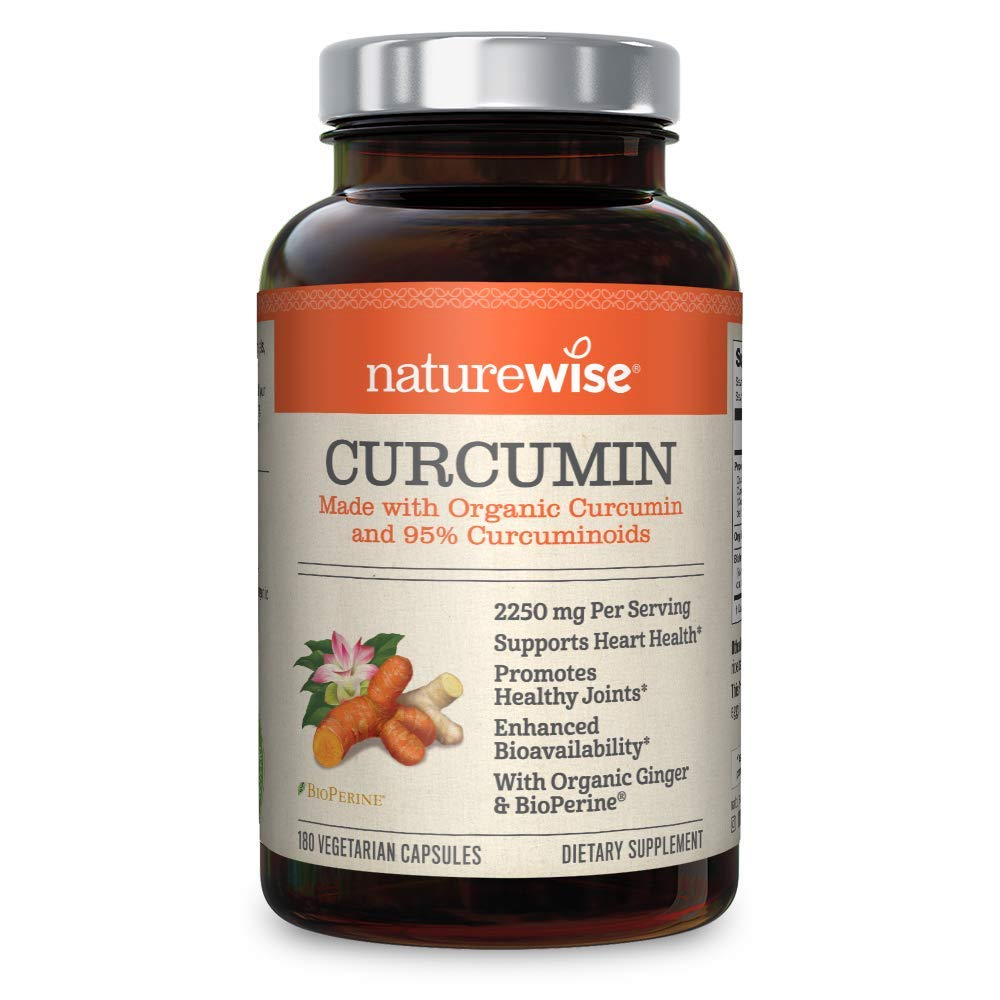 NatureWise Curcumin Turmeric 1650mg with 95% Curcuminoids & BioPerine Black Pepper Extract, Advanced Absorption, Cardiovascular & Healthy Joints Support, Gluten-Free, Non-GMO (180 Count 2 Pack)