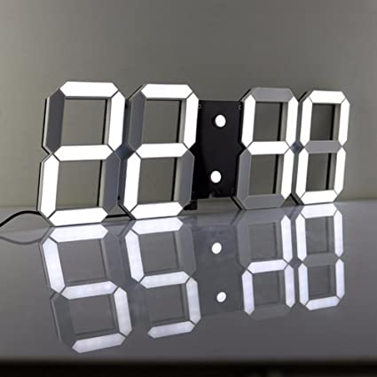 Lambtown - Reloj digital LED, 3D, para pared, con mando a ...
