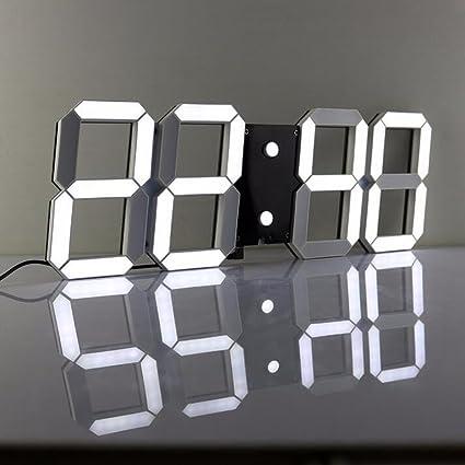 Lambtown - Reloj digital LED, 3D, para pared, con mando a ...