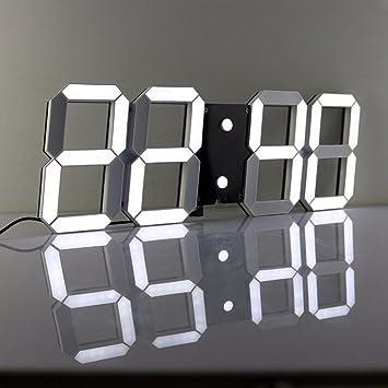LambTown Télécommande 3D LED Numérique Horloge Murale Avec ...