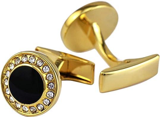 AYDOME Gemelos para Camisas Personalizados Gemelos de Hombregemelos para Camisa Redondo Gemelos para Novio Oro: Amazon.es: Joyería