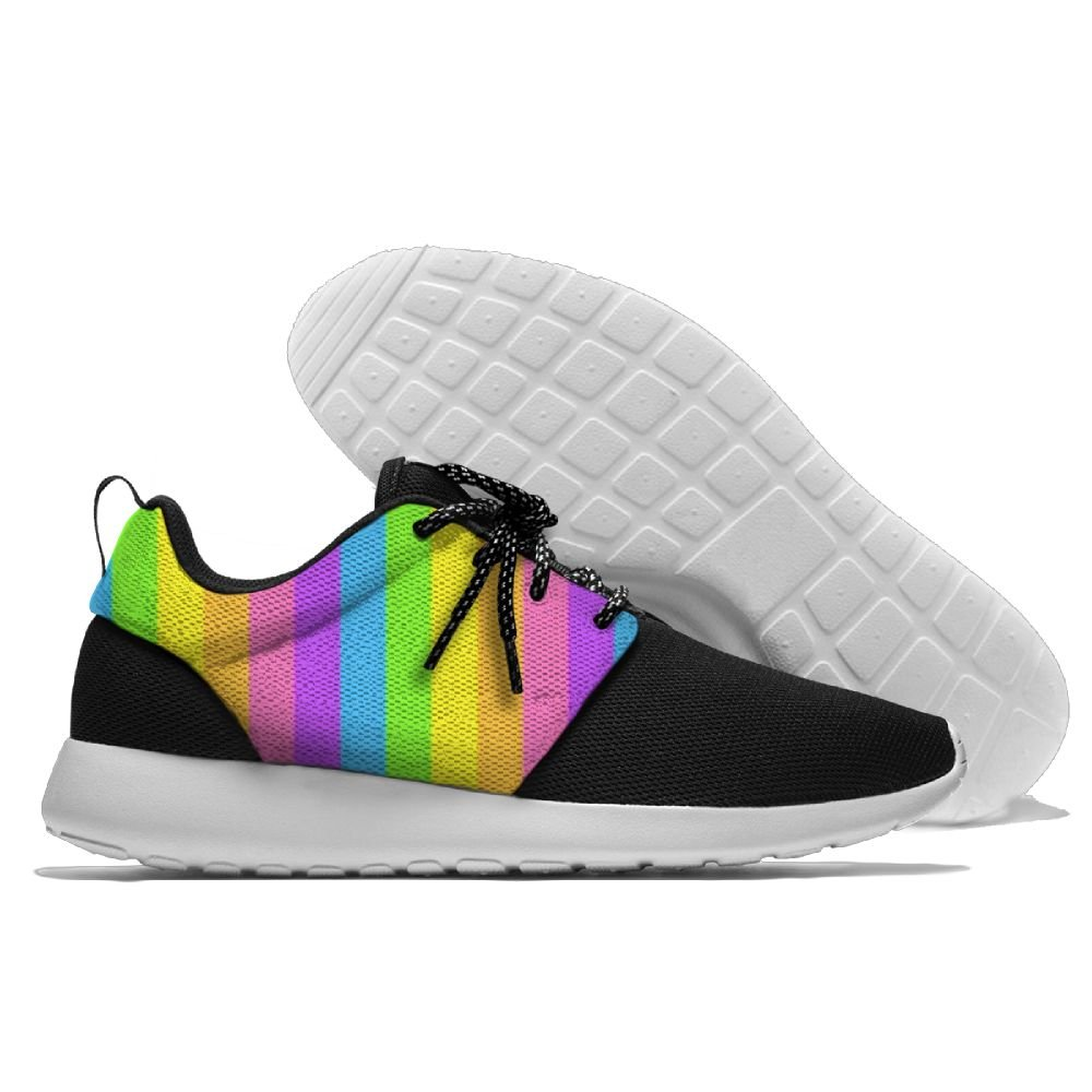 Mens Running Rainbow Stripes Shoes Fashion Breathable Sneakers Mesh Soft Sole Casual Athletic Lightweight