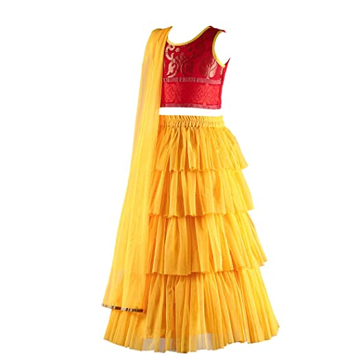 733c37be1a8d4b Twisha Floral Brocade Blouse with designer Tiered Net lehenga with  Dupatta-Yellow-10Y: Amazon.in: Clothing & Accessories