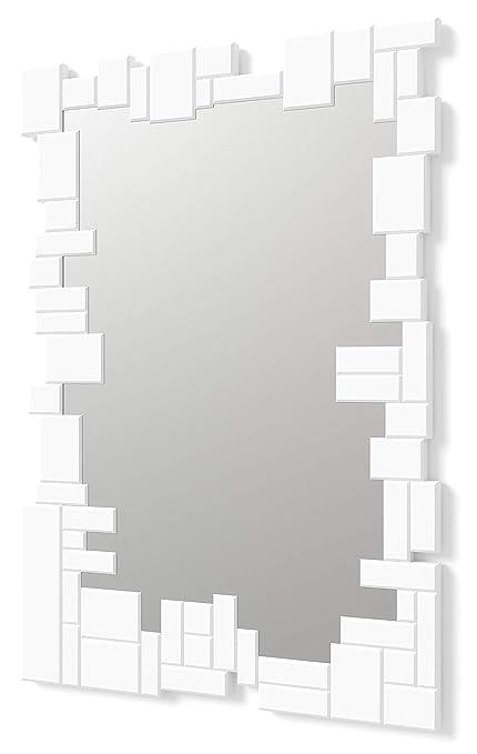 Specchi Moderni Con Cornice.Dekoarte Specchio Moderno Da Parete Decorativo Grande Con Cornice Decorata Con Vetri Su Piani Distinti Argento Bianco 100x70 Cm