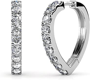 59096a5eb Cate & Chloe Waverly Carefree 18k White Gold Plated Chandelier Hoop  Earrings Swarovski Crystals - Beautiful