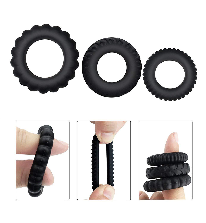Juego de anillos de silicona 4PCS Juego de anillos de demora de silicona el/ástica premium para hombres