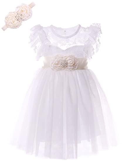 3339bfa6445d Cilucu Flower Girls Dress Kids Lace Ruffle Party Dress Wedding Bridesmaid  Dresses with Ivory Sash Headbands