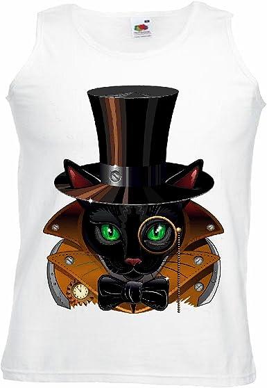Camisa del músculo Tank Top Cat Negro con Cilindro Y Fly Raza de Gato Resaca Gato de la casa de educación en enfermería Manga en Blanco: Amazon.es: Ropa y accesorios