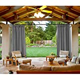 cololeaf Outdoor Patio Curtain Water Resistant - Pinch Pleated For Track or Traverse Rod with Ring,at Front Porch, Pergola, Cabana, Patio, Gazebo, Dock,84 Wide by 96-inch Long - Grey (1 Panel)