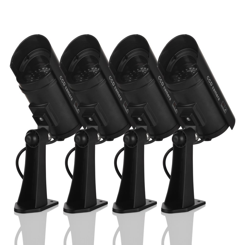 Fake Security Camera, Dummy Cameras CCTV Surveillance System Simulated Monitor with Blinking LED for Home Security Outdoor/Indoor - 4 PACK(Black)