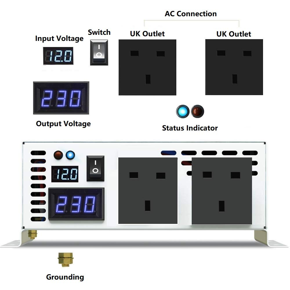 pure sine Converter for for RV,Truck,Car WZRELB 600W Pure Sine Wave Power Inverter 12V DC to 230V 240V AC 600W peak power 1200W