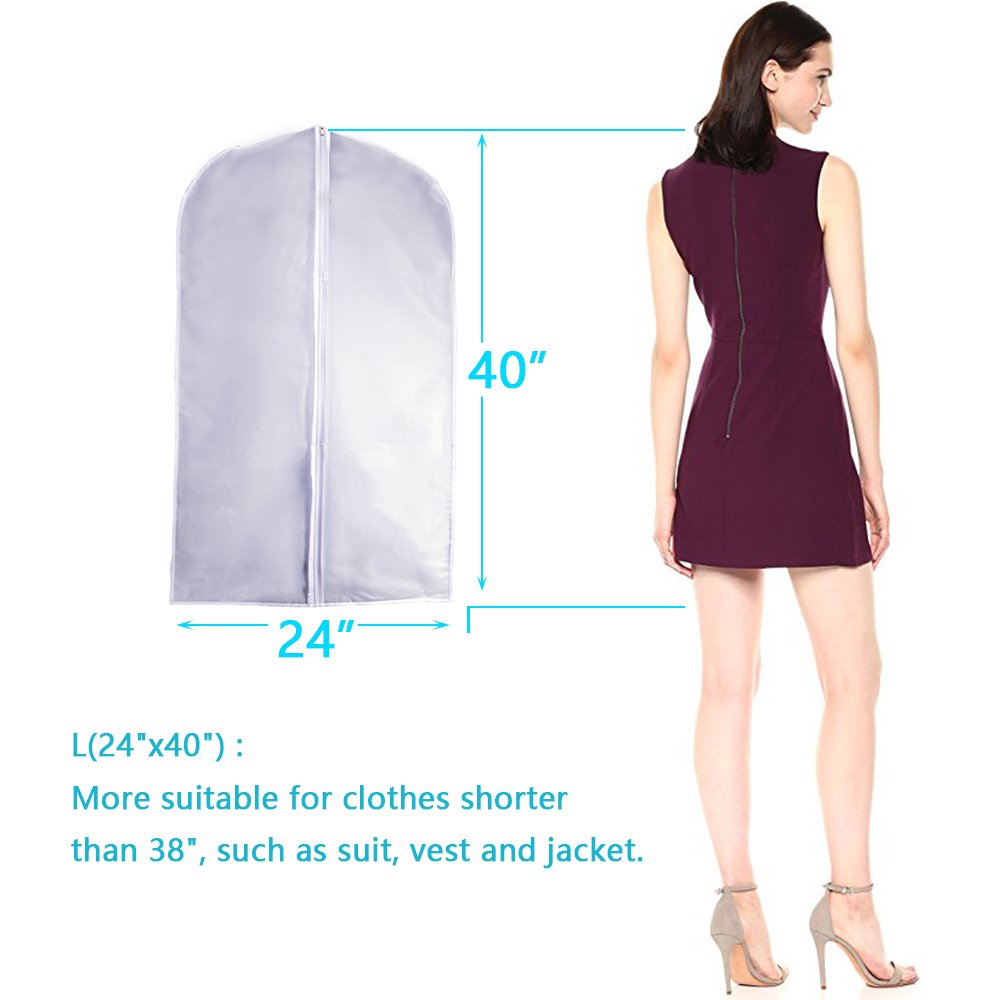 Dust Bags Cover Moth Proof for Clothes Storage Suits Dress Dance Zippered Breathable Pack of 6 UOUEHRA Garment Bag Clear