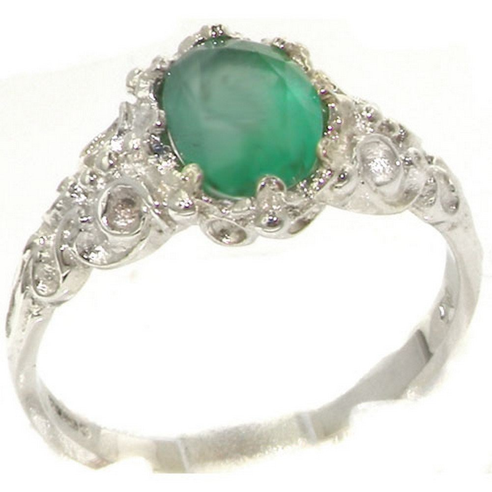 14k White Gold Natural Emerald Womens Solitaire Ring - Sizes 4 to 12 Available