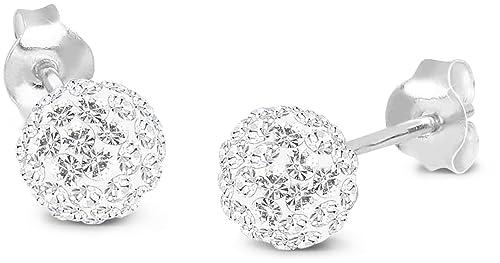 1 Paar Edelstahl Ohrringe weiss Kristall Ohrstecker,Creolen,Geschenk,weiß