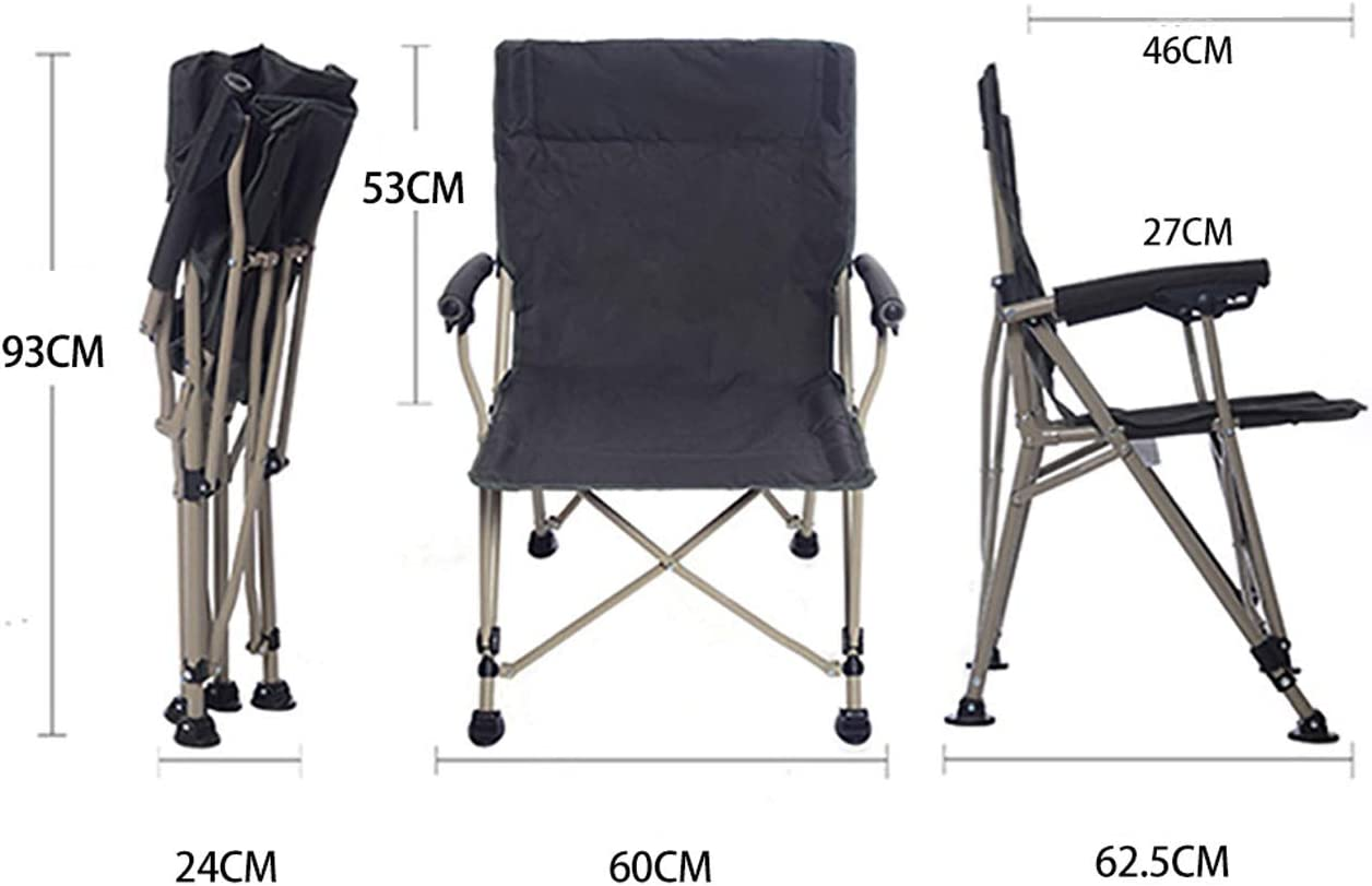 XXHDEE Ultraportability Outdoor Folding Chair Fishing Chair Simple Portable Director's Chair (60 * 62.5 * 93cm) Lounge chair (Color : Black) Black