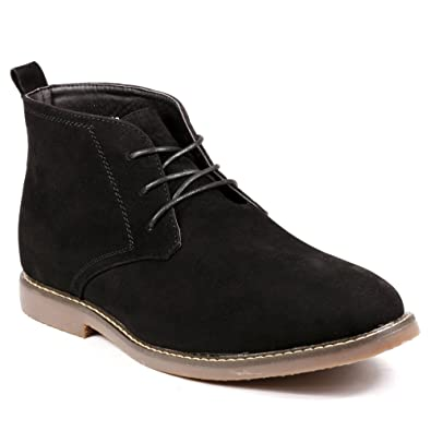 Miko Lotti BF1302 Men's Lace Up Casual Fashion Ankle Chukka Boots (7, Black)