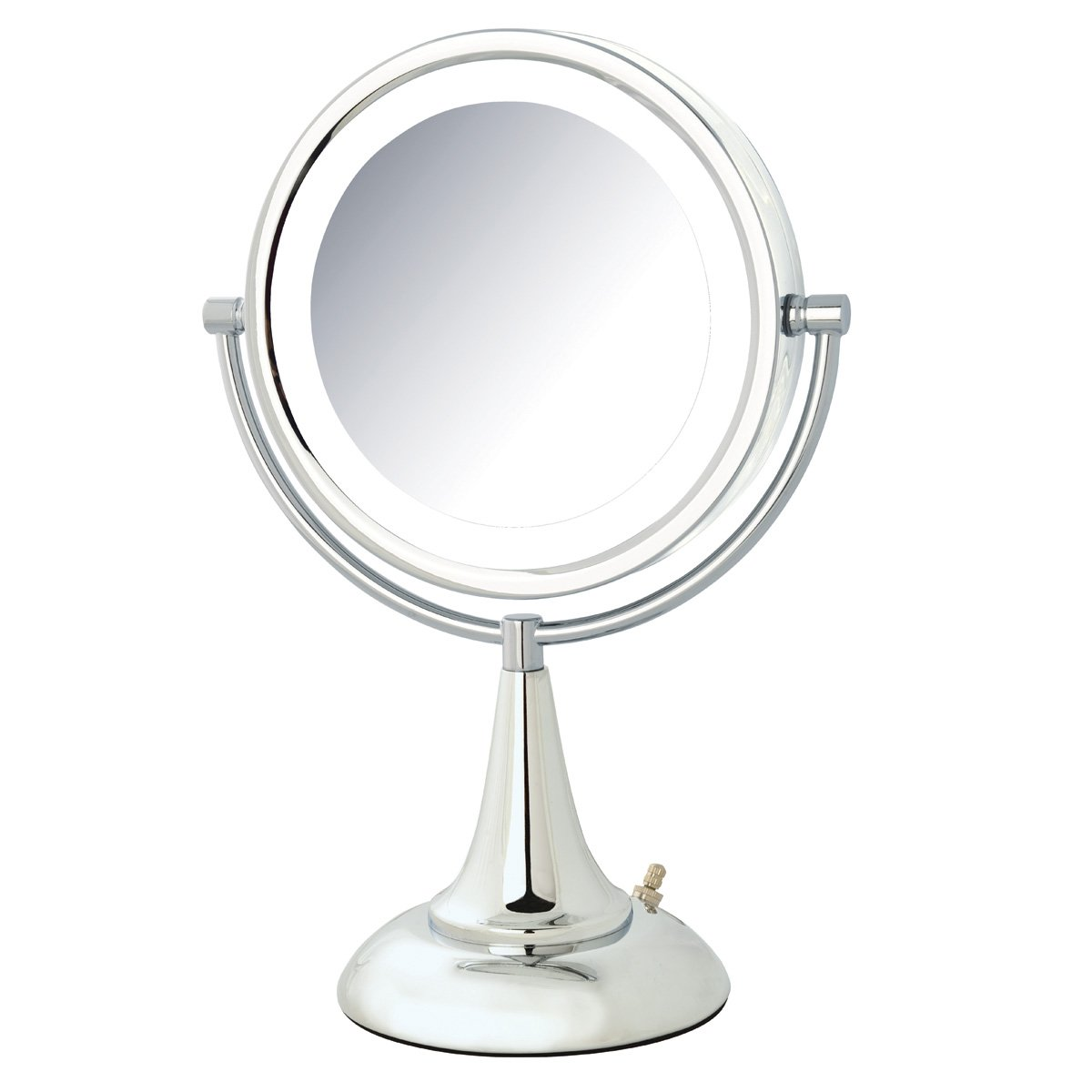 Jerdon HL8510NL Tabletop Two-Sided Swivel LED Vanity Mirror with 8x Magnification Nickel Finish, 8.5-Inch, 72-Ounce