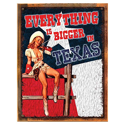 Wood-Framed Everything is Bigger in Texas Pinup Metal Sign, Sexy Pinup, Cowgirl on reclaimed, rustic ()