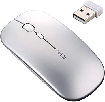 2.4GHz Ultra-Slim Mini USB Wireless Optical Mouse Silver for PC Laptop