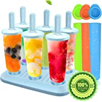 Molds Set, Ice Lolly Makers,Ice Lolly Moulds Ice Cream Reusable Silicone DIY Popsicle Moulds for Kids,Toddlers and Adults with Non-Spill Lid Cleaning Brush