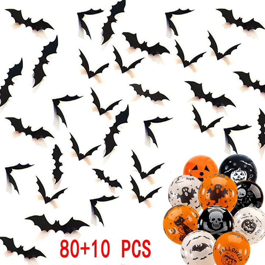 Petty Helper Halloween 3D Bats Decoration Stickers-Hallowmas Scary Bat Decal for Home Decor DIY Window Party Bathroom Indoor Supplies-Free 10 Halloween Decoration Balloons (80+10PCS)