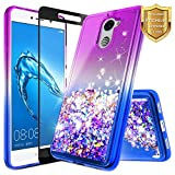 NageBee for Huawei Ascend XT 2 Case (H1711) w/ [Full Coverage Tempered Glass Screen Protector] Quicksand Liquid Floating Glitter Flowing Shiny Sparkle Bling Case for Huawei Elate 4G LTE - Purple/Blue