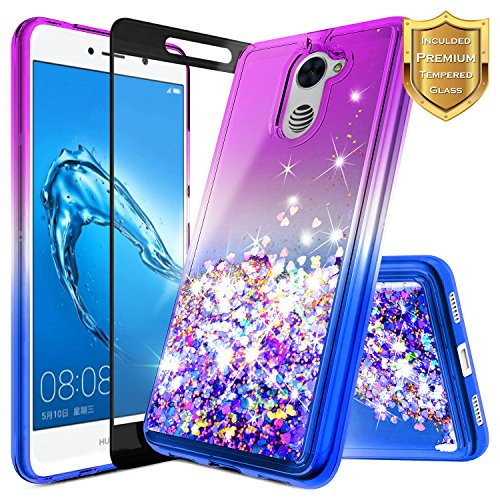 NageBee for Huawei Ascend XT 2 Case (H1711) w/ [Full Coverage Tempered Glass Screen Protector] Quicksand Liquid Floating Glitter Flowing Shiny Sparkle Bling Case for Huawei Elate 4G LTE - Purple/Blue by NageBee