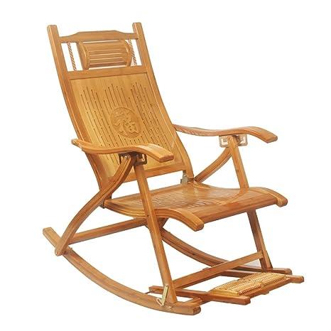 Mecedoras Bambú Plegable sillón reclinable para Adultos ...