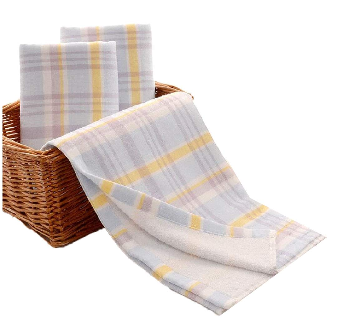 Andopa Adult Size Towels Cotton Super Soft Home Plaid Ultra Absorbent Quality Hand Towels Light Blue 3475cm