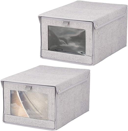 mDesign Juego de 2 organizadores de armarios con tapa y ventana de visualización – Cajas con tapa