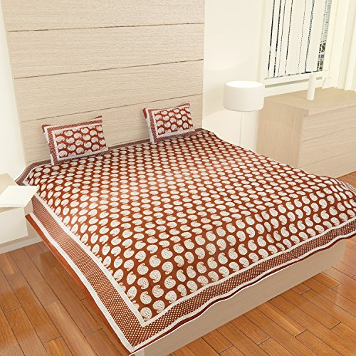 (traditional mafia Luxury Collection-Printed Double Bed Sheet Set with 2 Pillow Covers, King Size, Bronze)