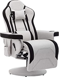LUMISOL Gaming Recliner Chair with Ottoman, Adjustable Headrest and Lumbar Support, Racing Style Fabric Reclining Office Chair (Gray)