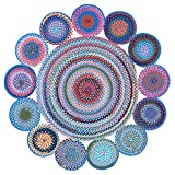 LOCHAS Braided Multicolor Area Rug Natural Fiber Hand Woven Reversible Round Solid T/C Cloth Carpet for Living Room Bedroom Diningroom Kitchen Rugs, 5.9' x 5.9'