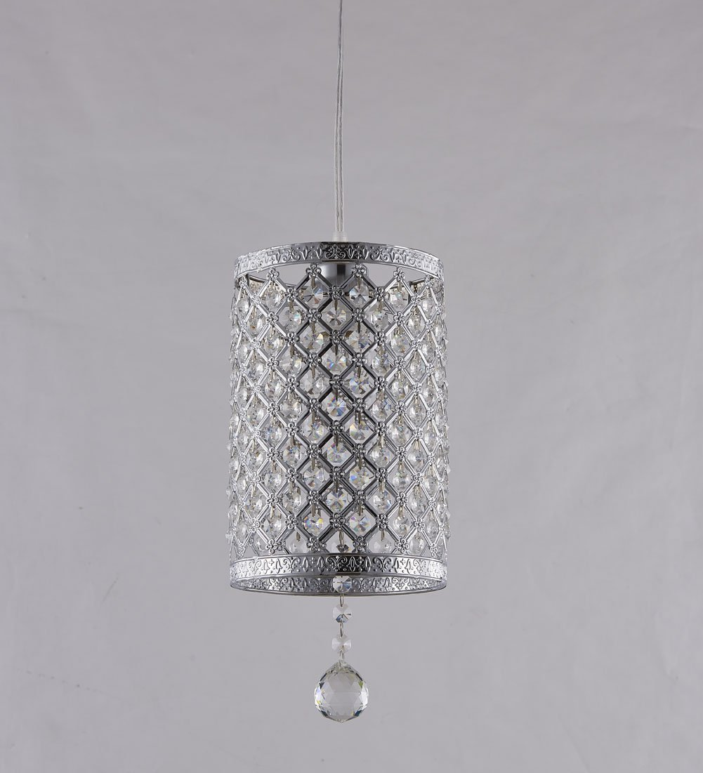 Surpars House Plug in Pendant Light Silver Crystal Chandelier with 17' Cord and On/off Switch in Line by Surpars House (Image #5)