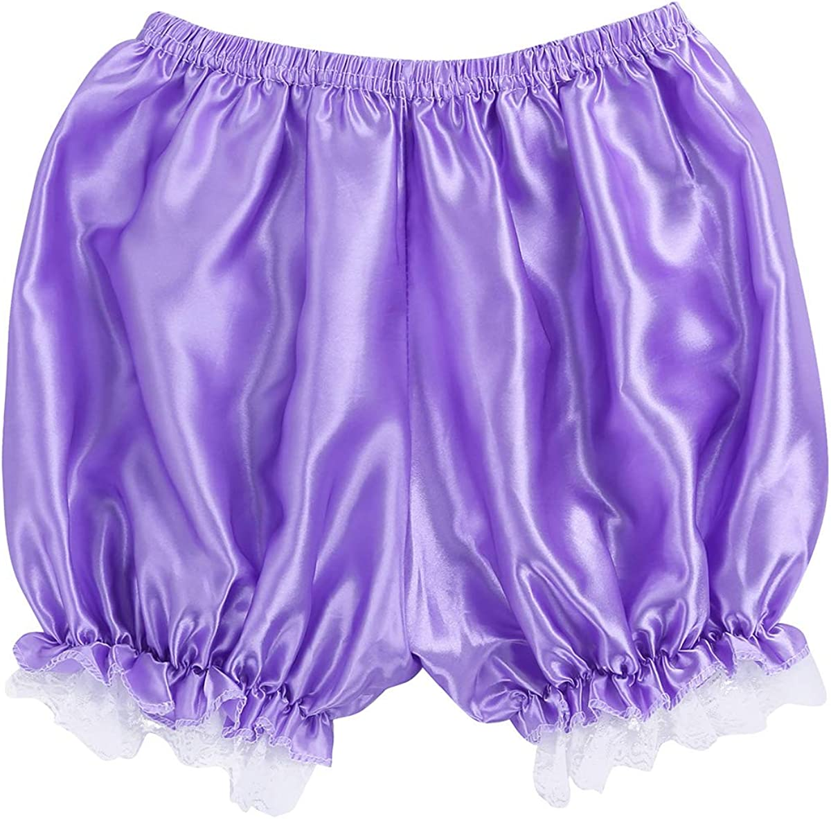 Doomiva Womens Shiny Satin Lace Trim Panties Ruffle Bloomer Victorian Maid Pumpkin Shorts