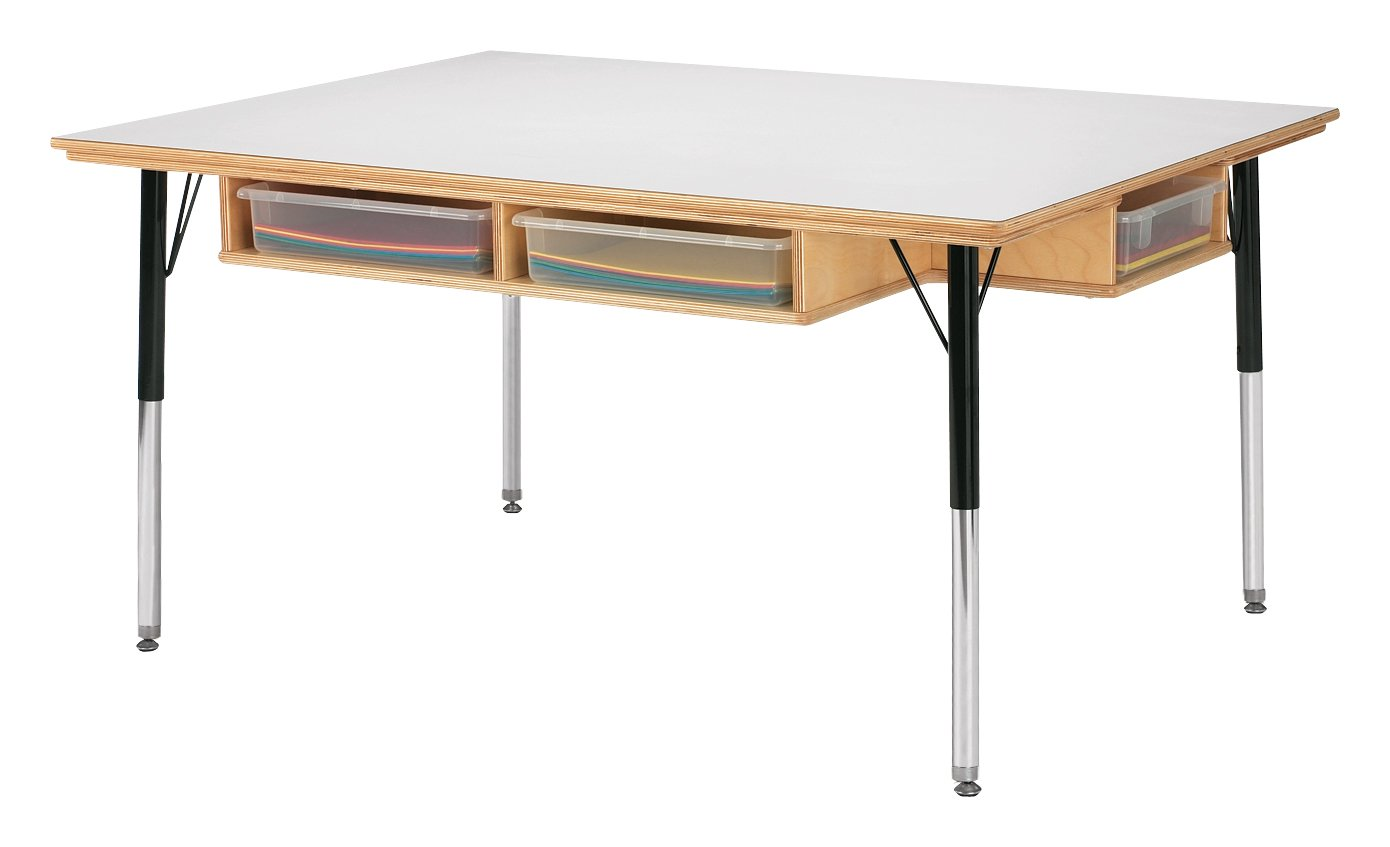 Jonti-Craft 55225JC Table with Storage and Clear Paper-Trays, 15''-24'' Height