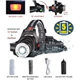 Best Bright LED Headlamp Flashlight,Zoomable 2000-Lumen,4-Mode Helmet Bike Light,Waterproof Fishing Camping Head Lamp,COSOOS Headlight Kit with Rechargeable 18650 Lithiumion Battey,Support AAA Battery